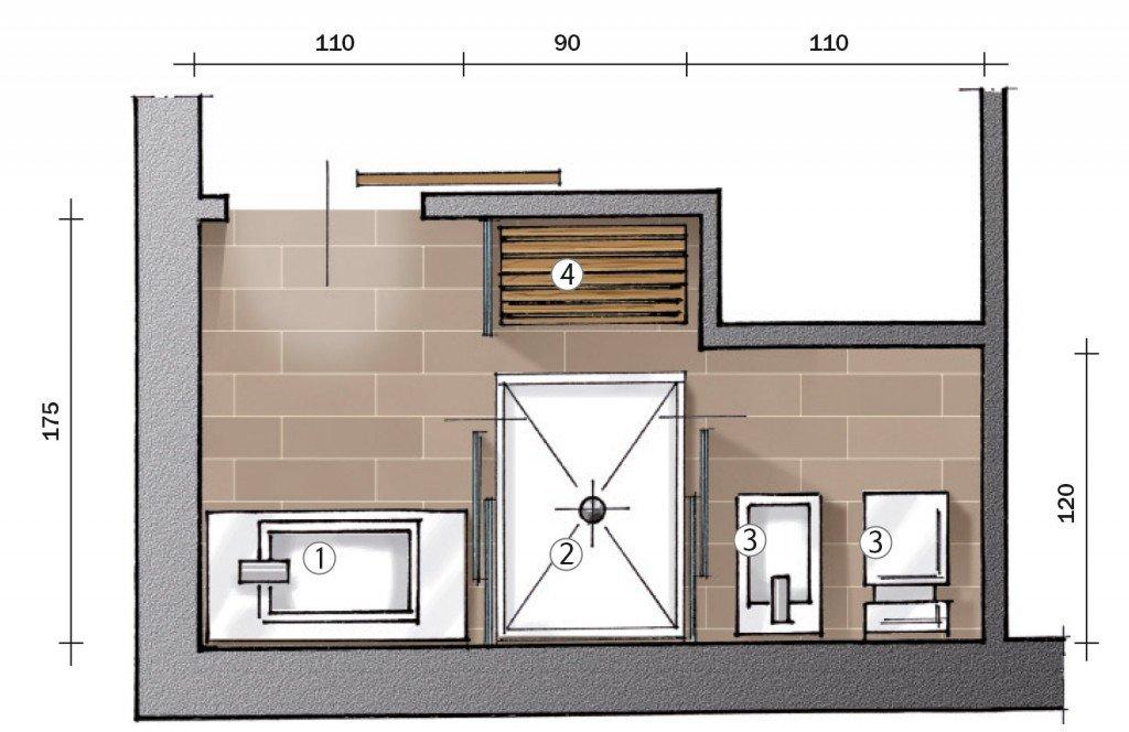 Secondo bagno a uso esclusivo della camera cose di casa - Progetto bagno 2 mq ...