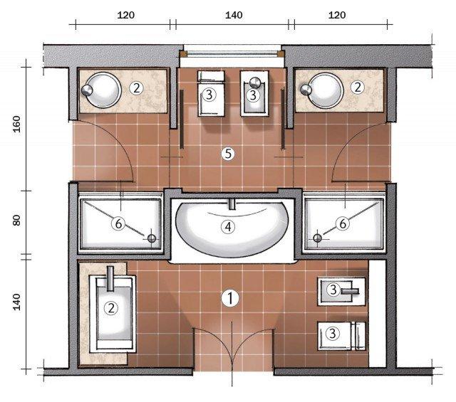 Ricavare due bagni da uno cose di casa for Bagno 7 mq