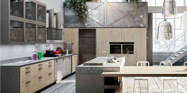 Una cucina con cabina-lavanderia