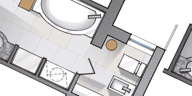 Da corridoio a bagno: progetto in pianta