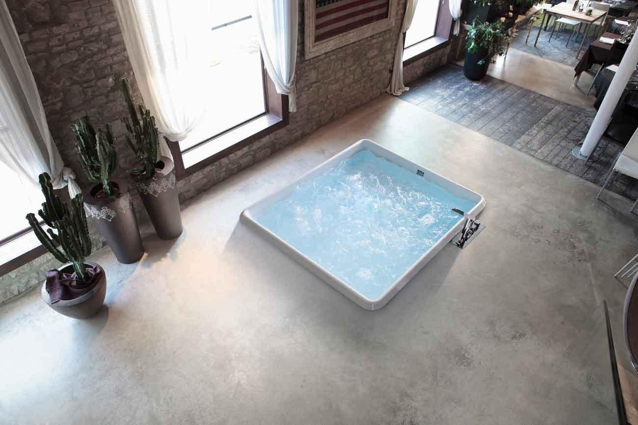 realizzata in acrilico la vasca quadrata da incasso bolla 160 q di hafro sistemata