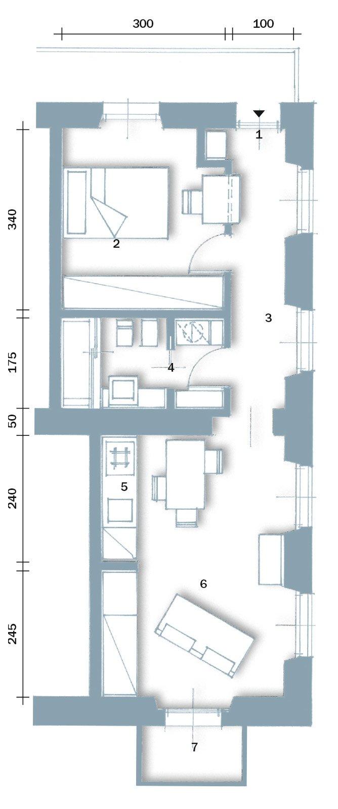 In 40 mq cambiano le prospettive cose di casa for Pianta casa 70 mq