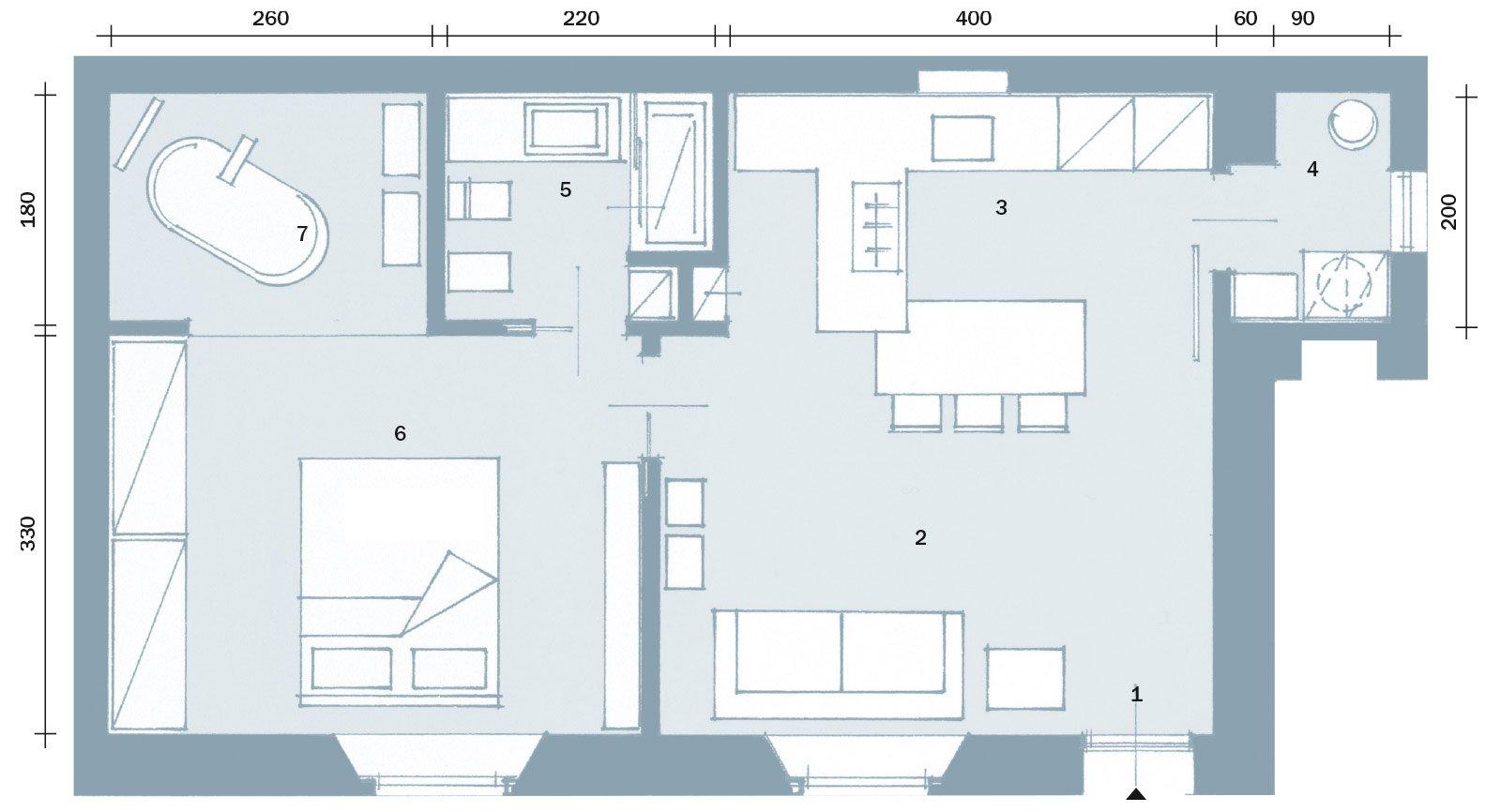 50 mq obiettivo massimo comfort cose di casa for Casa moderna pianta