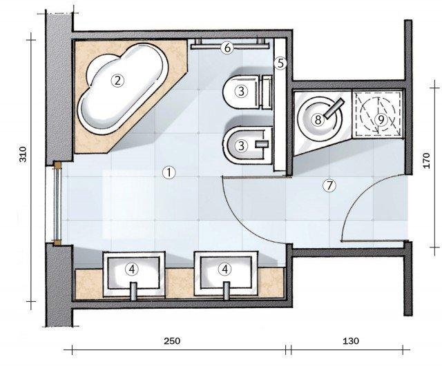 Bagno un progetto per renderlo pi grande e ricavare l 39 antibagno cose di casa - Termoarredo per bagno 6 mq ...