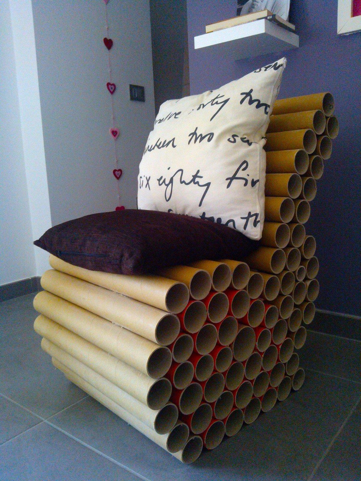 Poltroncina ecologica con tubi di cartone cose di casa for Cose di casa fai da te