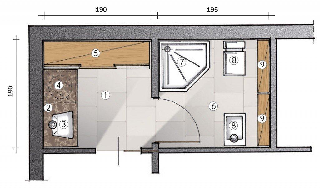 Antibagno – 2 Mobile – 3 Lavabo – 4 Lavatrice sottotop – 5 ...