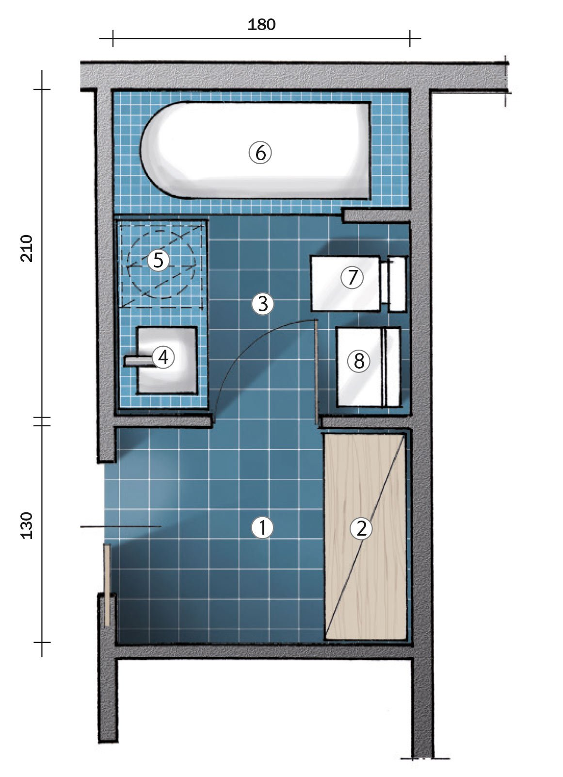 Da ripostiglio a bagno la pianta del nuovo locale di for 2 br 2 piani casa bagno