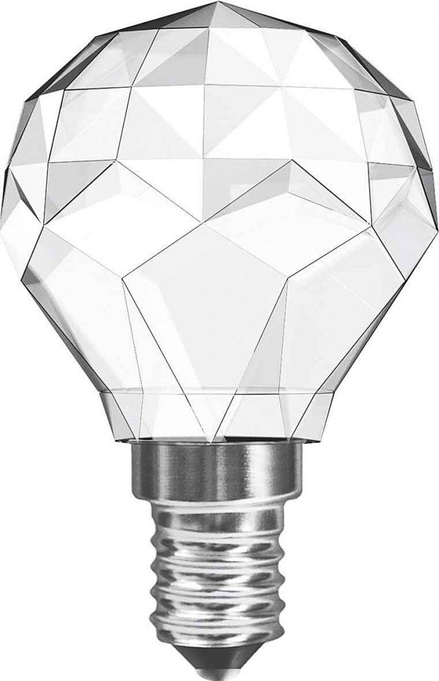 È a led la lampadina con accensione immediata e resa luminosa istantanea. Led Crystal sfera  di Relco è disponibile con attacchi E27 ed E14. www.relcogroup.com