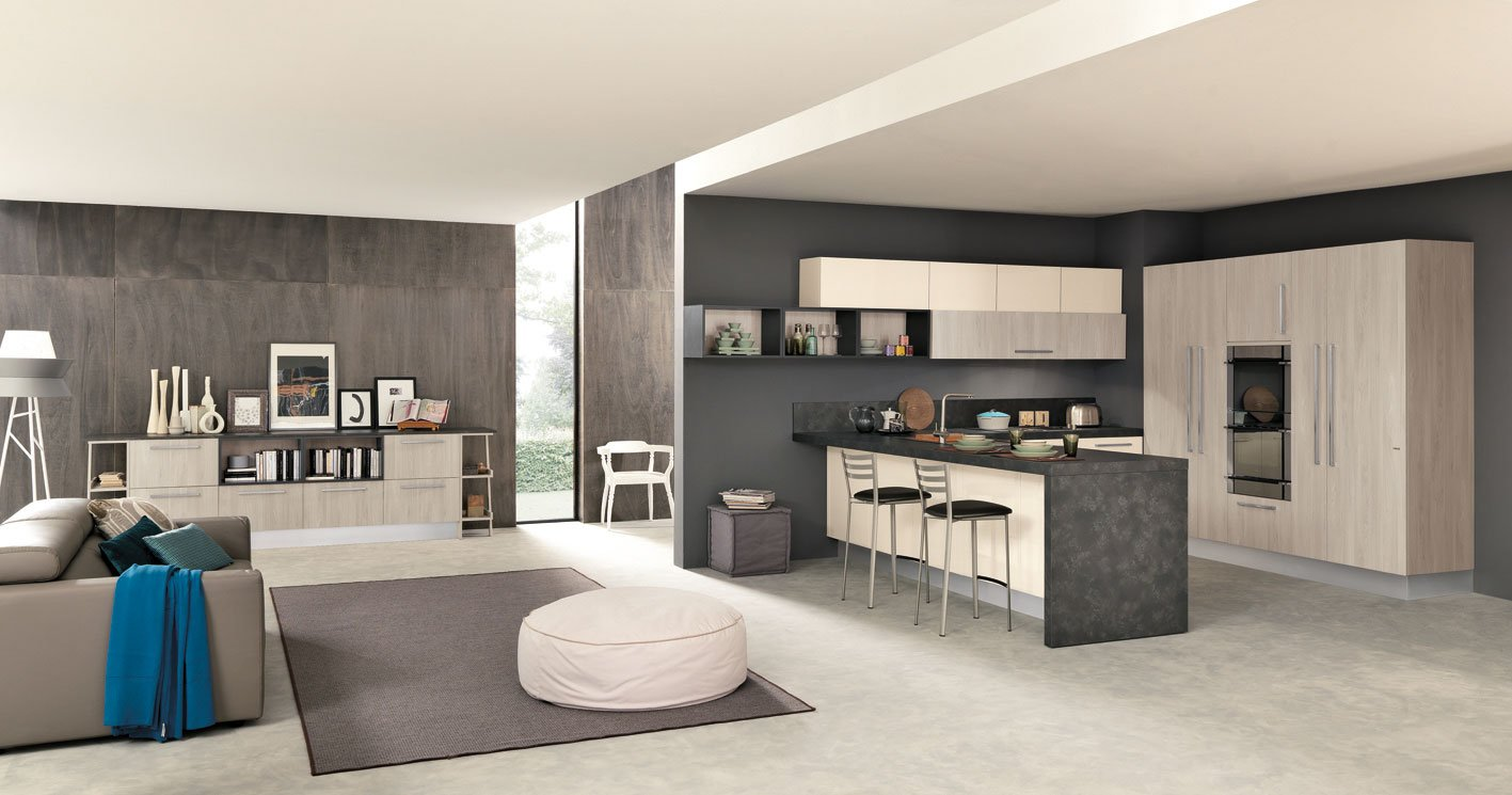 cucine open space con penisola cose di casa. Black Bedroom Furniture Sets. Home Design Ideas