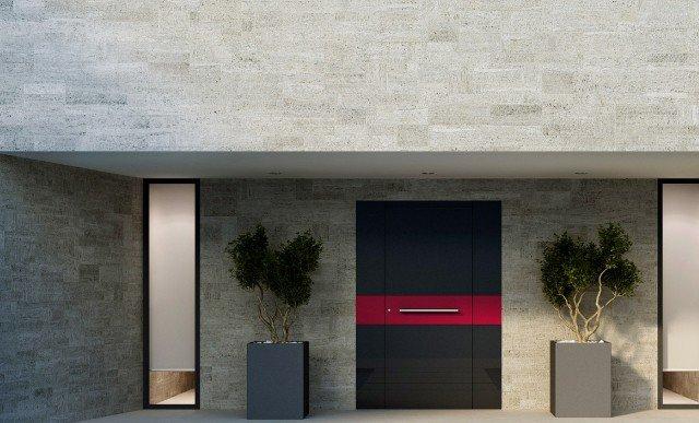 In classe antieffrazione 3, il portoncino Design Doors collez. Vitrum 3 di Aluhaus ha struttura interna in alluminio, che forma un telaio strutturale resistente, e particolare meccanismo automatico di bloccaggio multiplo. www.oknoplast.com