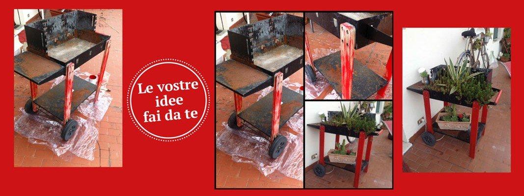 Riciclo riutilizzo da vecchio barbecue a portavasi per - Portavasi fai da te ...