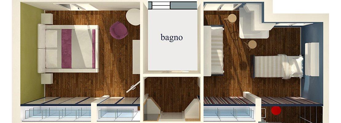 Riorganizzare i disimpegni della zona notte progetto con for Disposizione della casa 3d