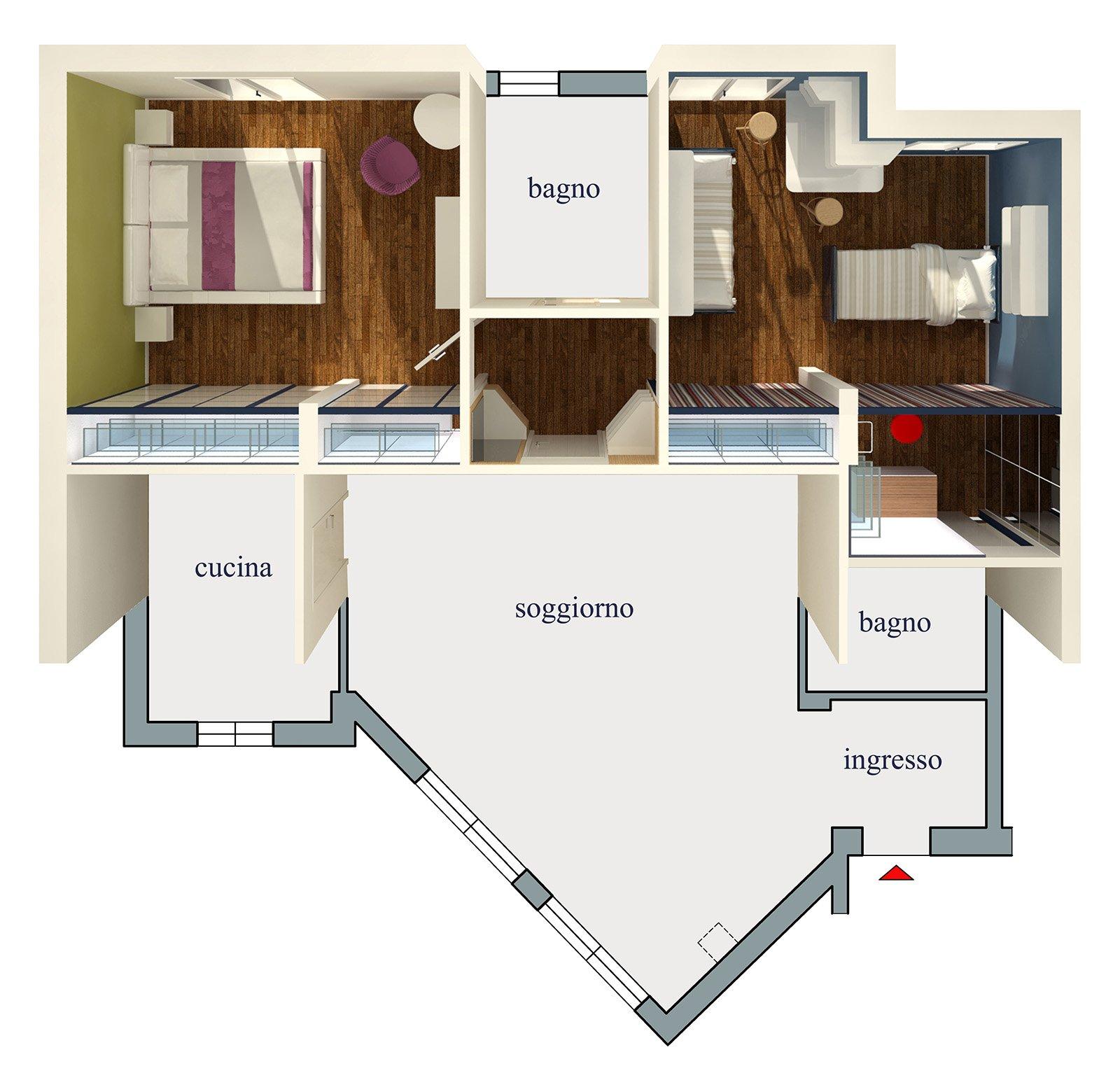 Riorganizzare i disimpegni della zona notte progetto con - Progetto casa 3d gratis ...