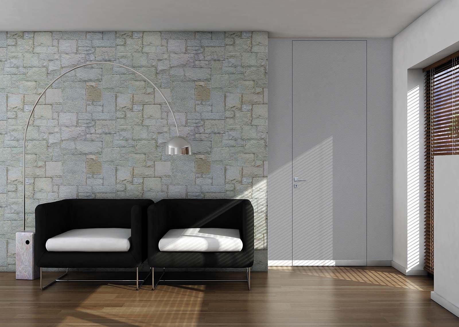 Porte a filo muro design essenziale o finitura d cor - Porta chitarra da muro ...