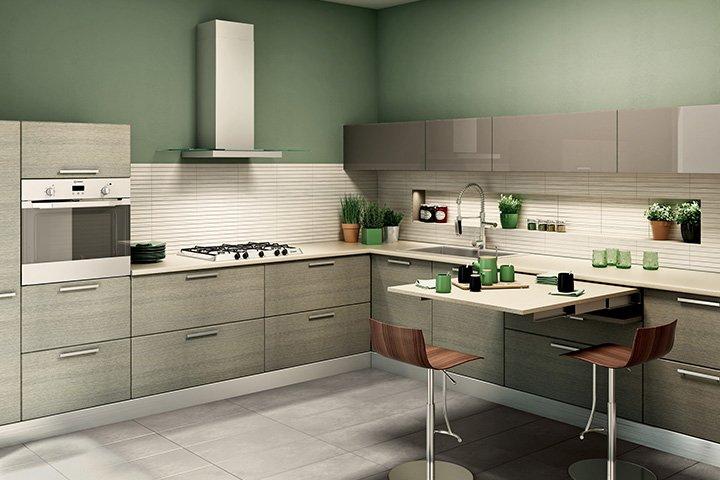 Cucina composizioni chiavi in mano salvaspazio e low - Cucina senza piastrelle ...
