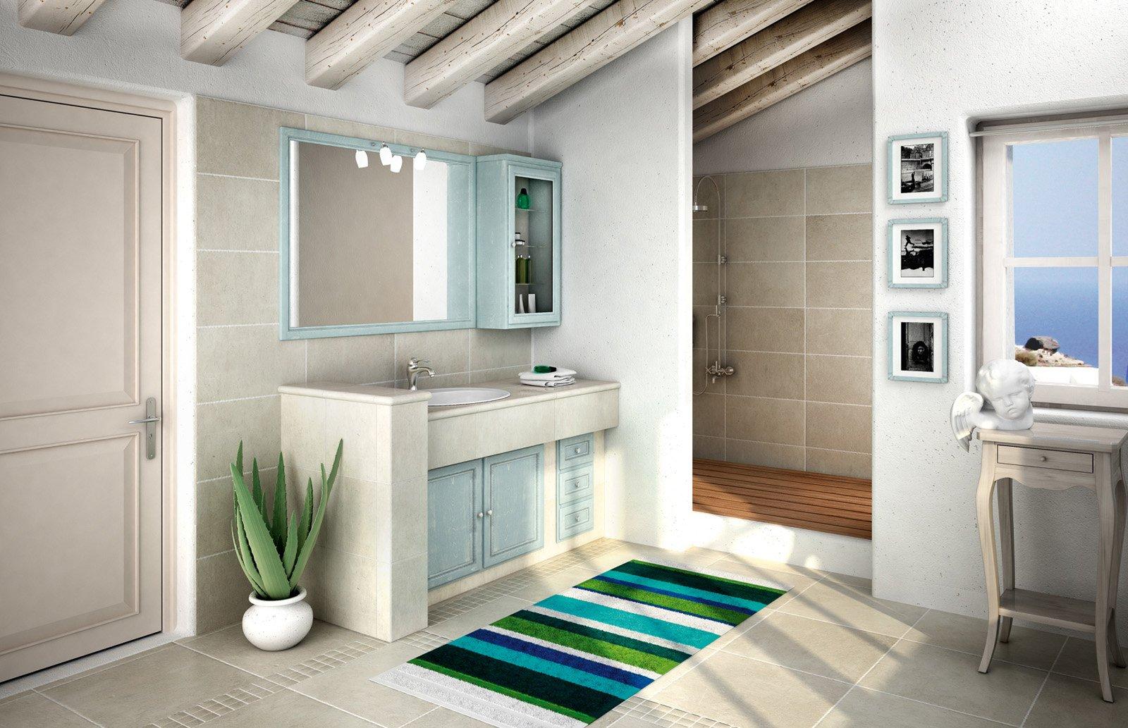 mobile bagno: classico, effetto muratura - cose di casa - Mobili Bagno Con Lavabo Da Incasso