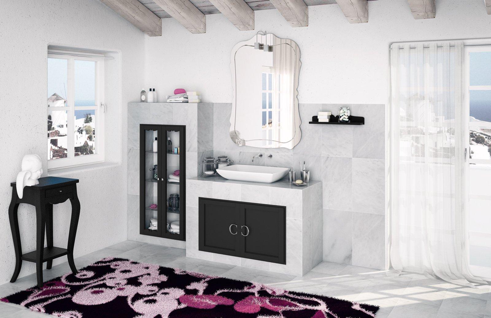i frontali di colore nero insieme al lavabo jazz in ceramica le maniglie a