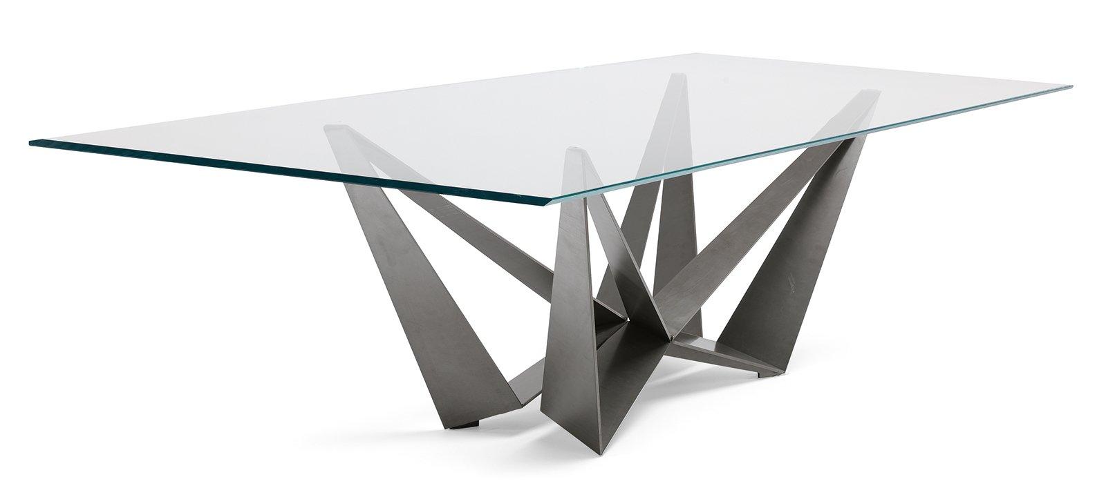 Tavoli piano in vetro gambe protagoniste cose di casa for Tavoli in legno e acciaio