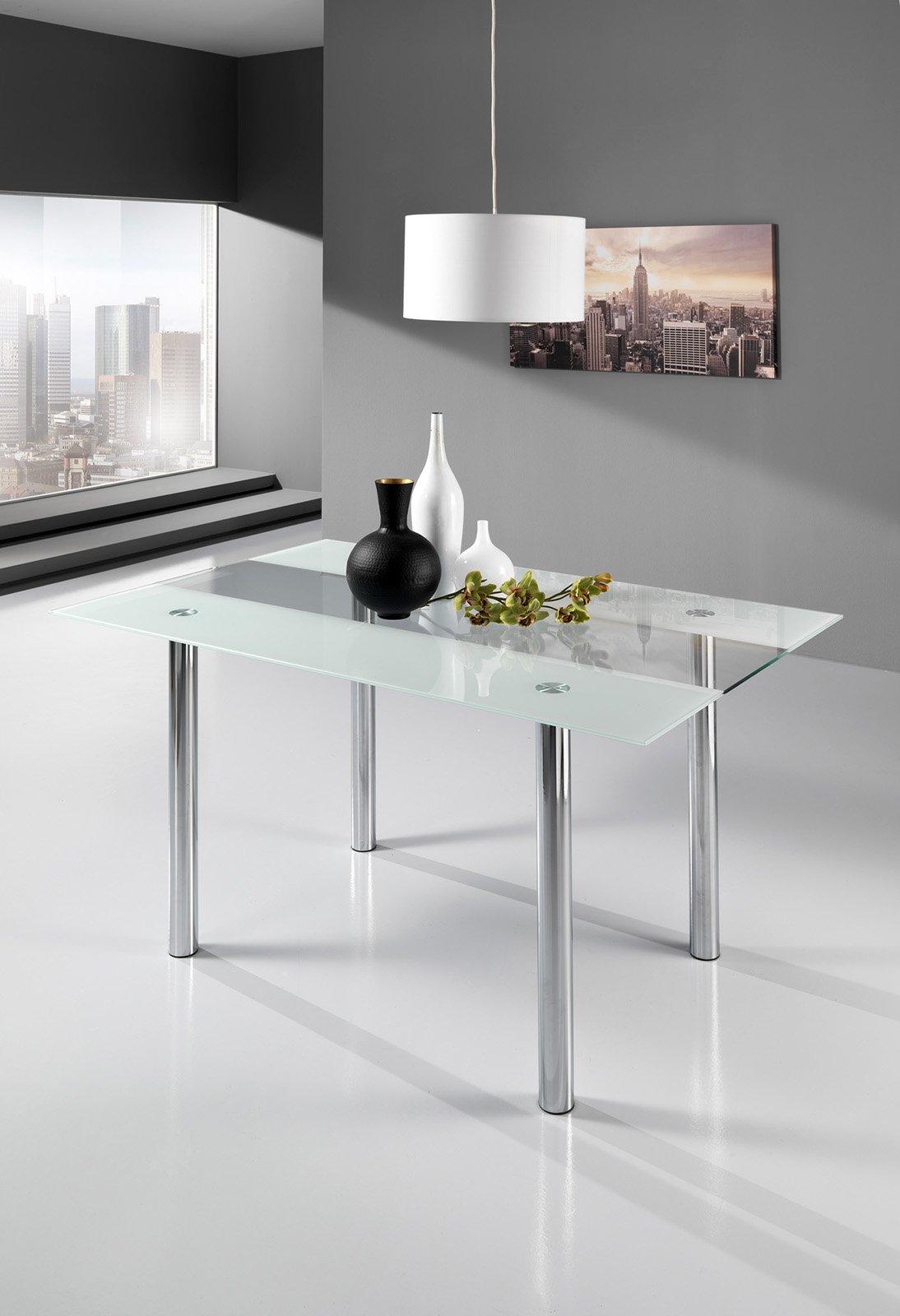 il tavolo allungabile aspi di ricci casa con piano in vetro temperato e struttura in acciaio inox satinato misura l 140 200 x p 80 x h 75 cm