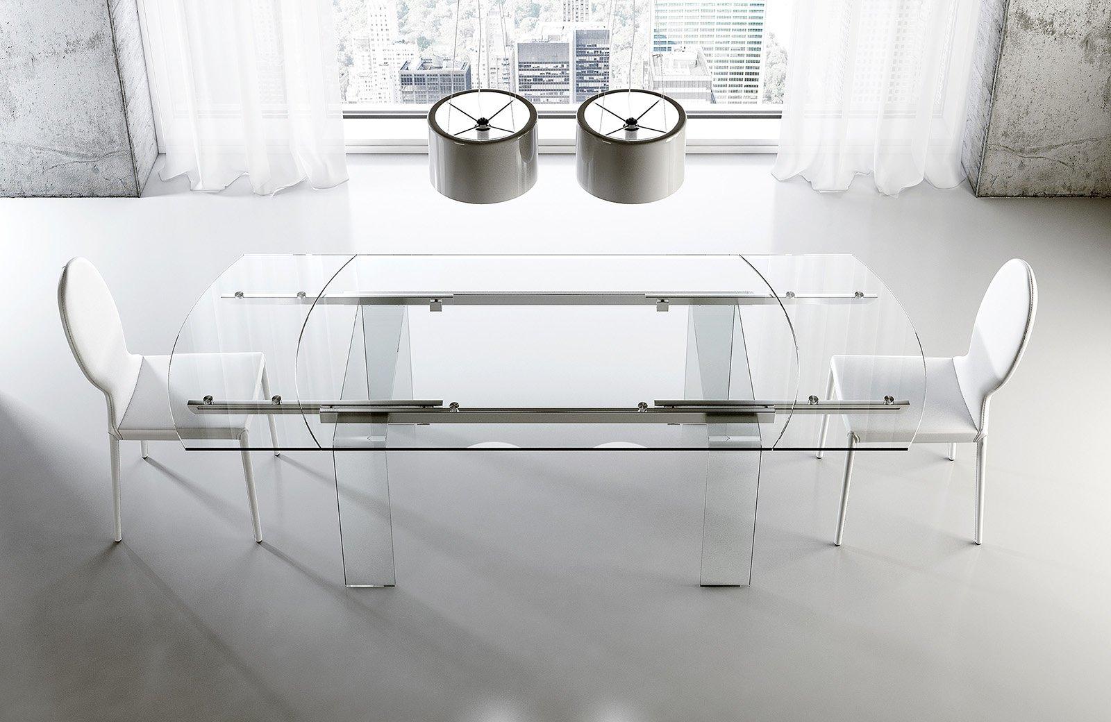 Tavoli piano in vetro gambe protagoniste cose di casa for Tavoli in cristallo e acciaio