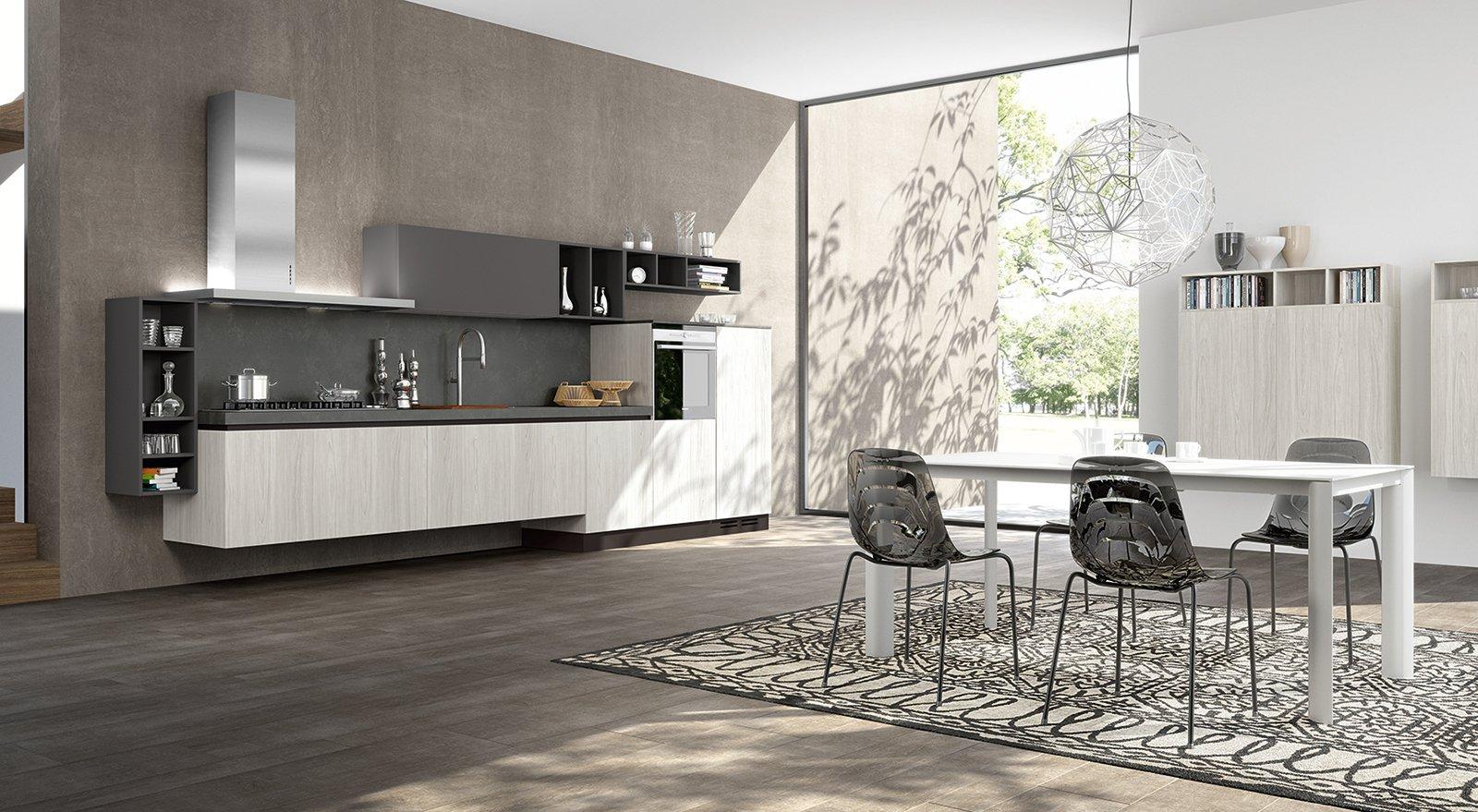 Una Raffinata Alternanza Fra Ante In Laminato Olmo Bianco E Pensili In  #697457 1600 879 Pensili Cucina IKEA