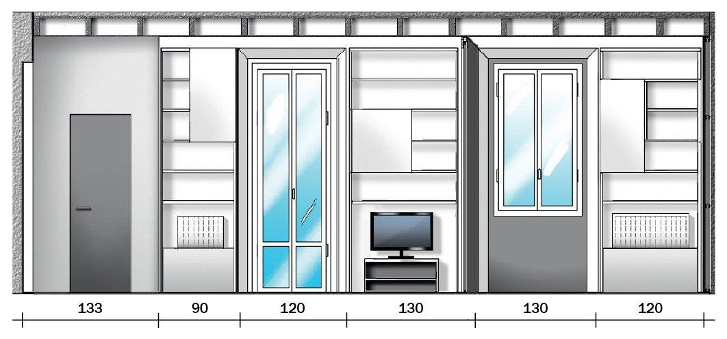 disegno sezione progetto arredo intorno alle finestre in casa piccola 35 mq