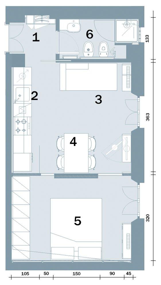 In 35 mq 6 zone comode e funzionali cose di casa for Case moderne e strette