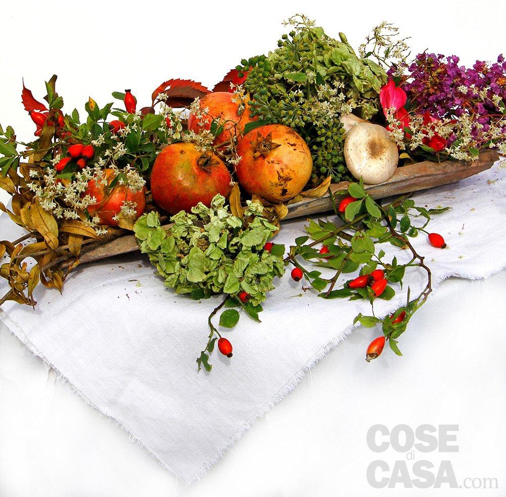 Decorazione autunnale con melagrane e funghi cose di casa for Fiori da giardino autunnali