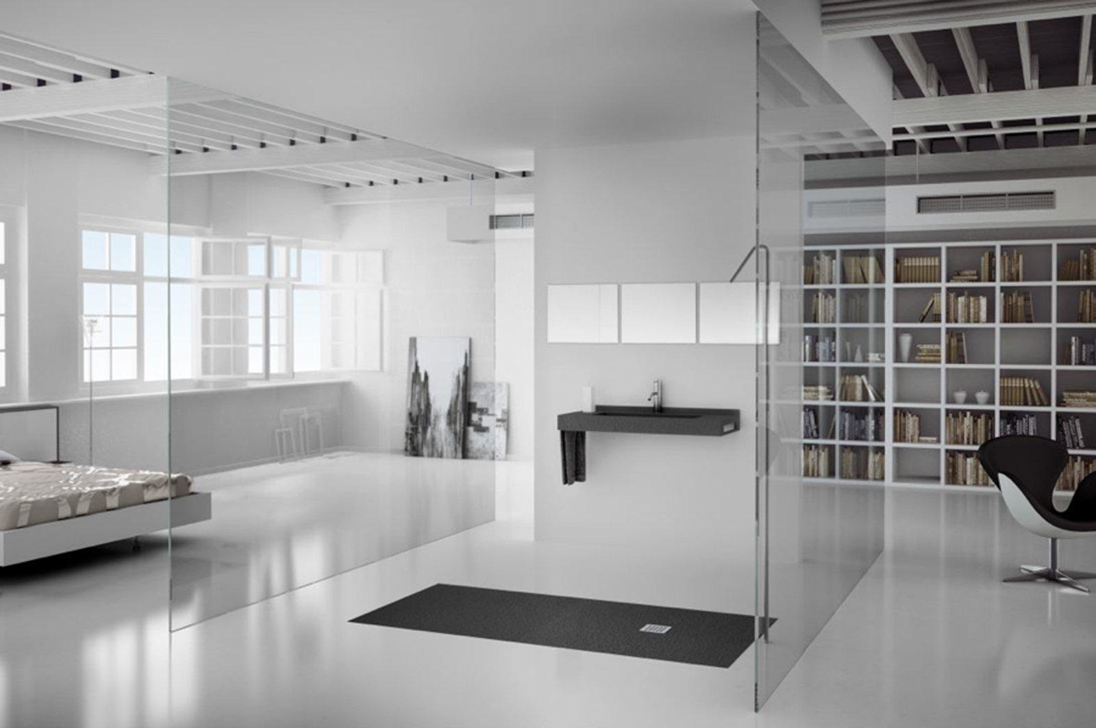 Bagno con finiture cemento o effetto cemento cose di casa - Bagni con doccia a pavimento ...