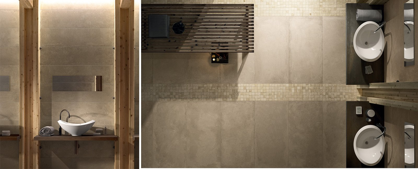 Bagno con finiture cemento o effetto cemento cose di casa - Parete effetto cemento ...