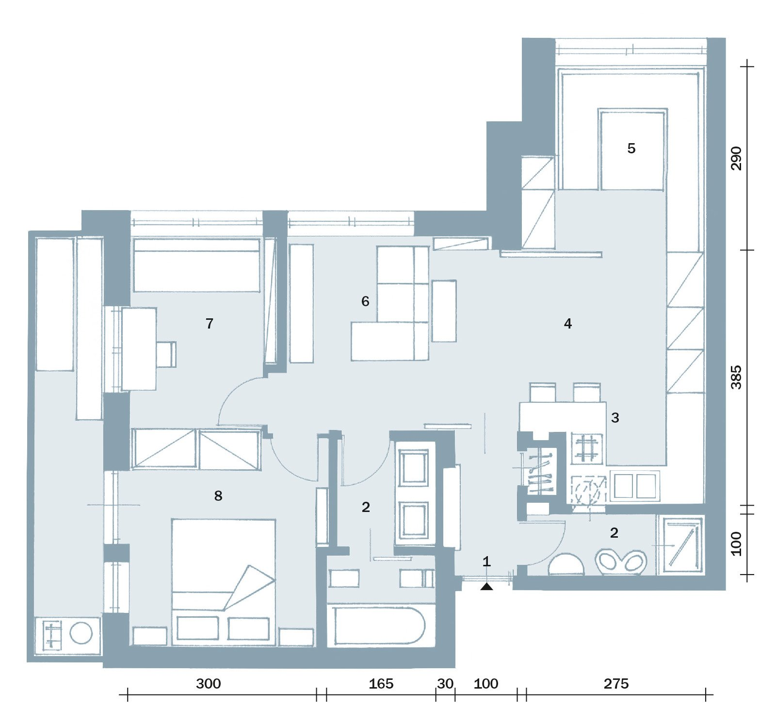 57 mq una casa con stanze trasformabili cose di casa - Planimetria camera da letto ...