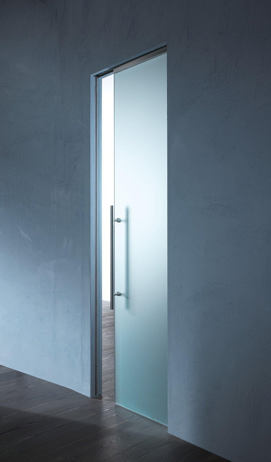 porte scorrevoli in vetro a scomparsa o esterno muro