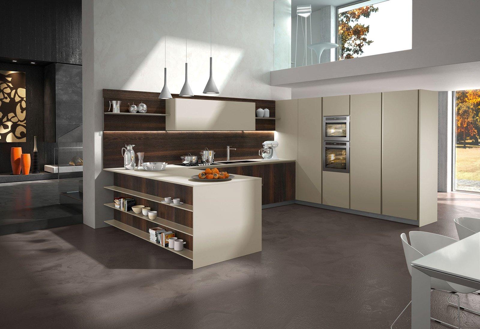 Il Fronte Decorato Da Pannelli In Legno Rovere Smoke E Lunghe Mensole  #A76424 1600 1095 Arredare Mensole Cucina Moderna