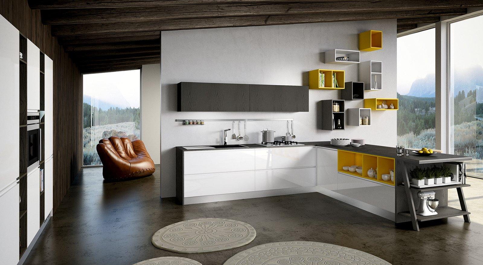 Cucina in bianco pi colore le nuove composizioni moderne - Colori di cucine moderne ...