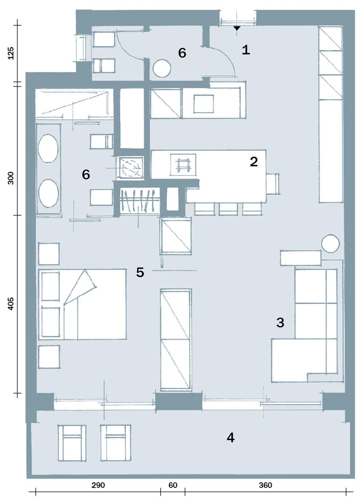 In 57 mq due bagni per la casa dagli incastri perfetti for Casa moderna pianta