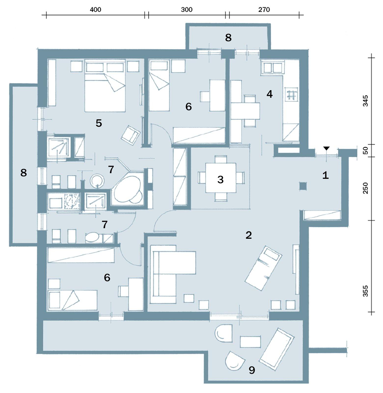 Una casa con ambienti ridisegnati cose di casa for 6 piani di casa con 4 bagni