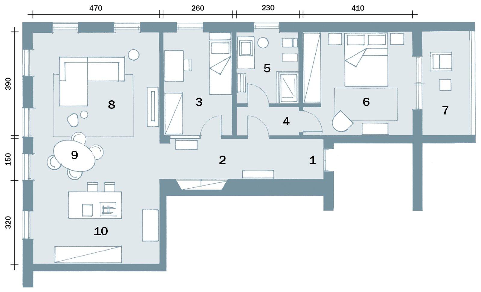 85 mq un trilocale dalla spiccata personalit cose di casa for Planimetria interna