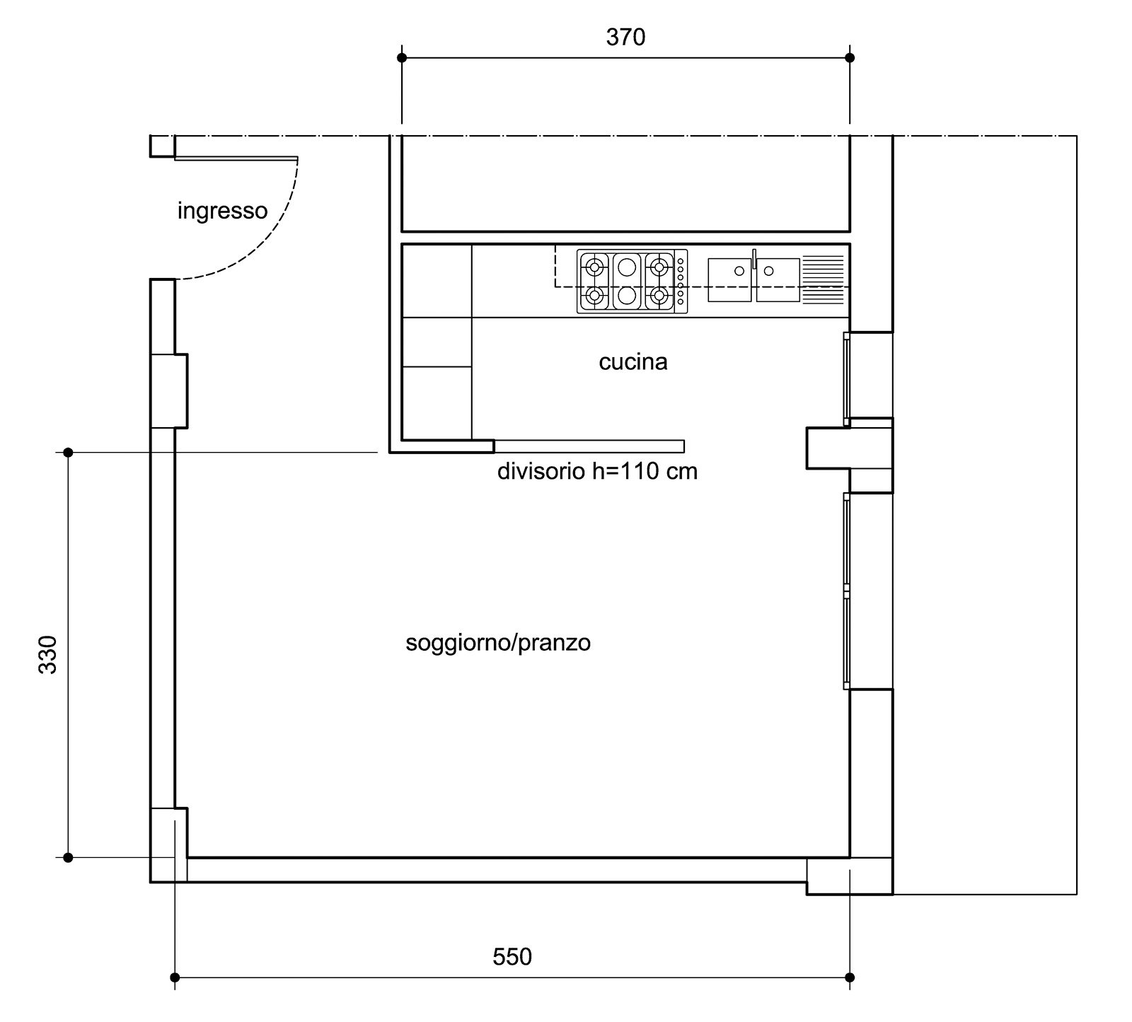 Arredare Il Soggiorno Zona Pranzo Con Cucina A Vista Cose Di Casa #4A4A4A 1600 1445 Come Arredare Cucina Con Travi A Vista