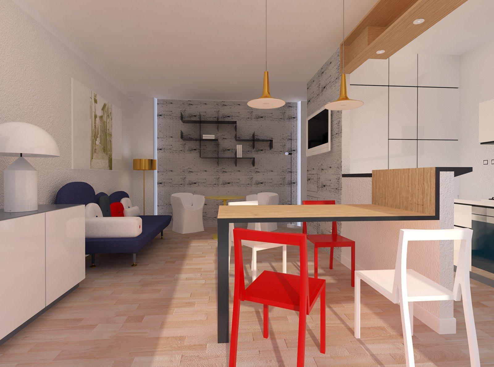 Arredare il soggiorno zona pranzo con cucina a vista for Arredamento colorato