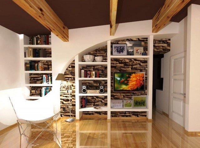 Come attrezzare una parete irregolare con libreria e tv for Parete rossa soggiorno