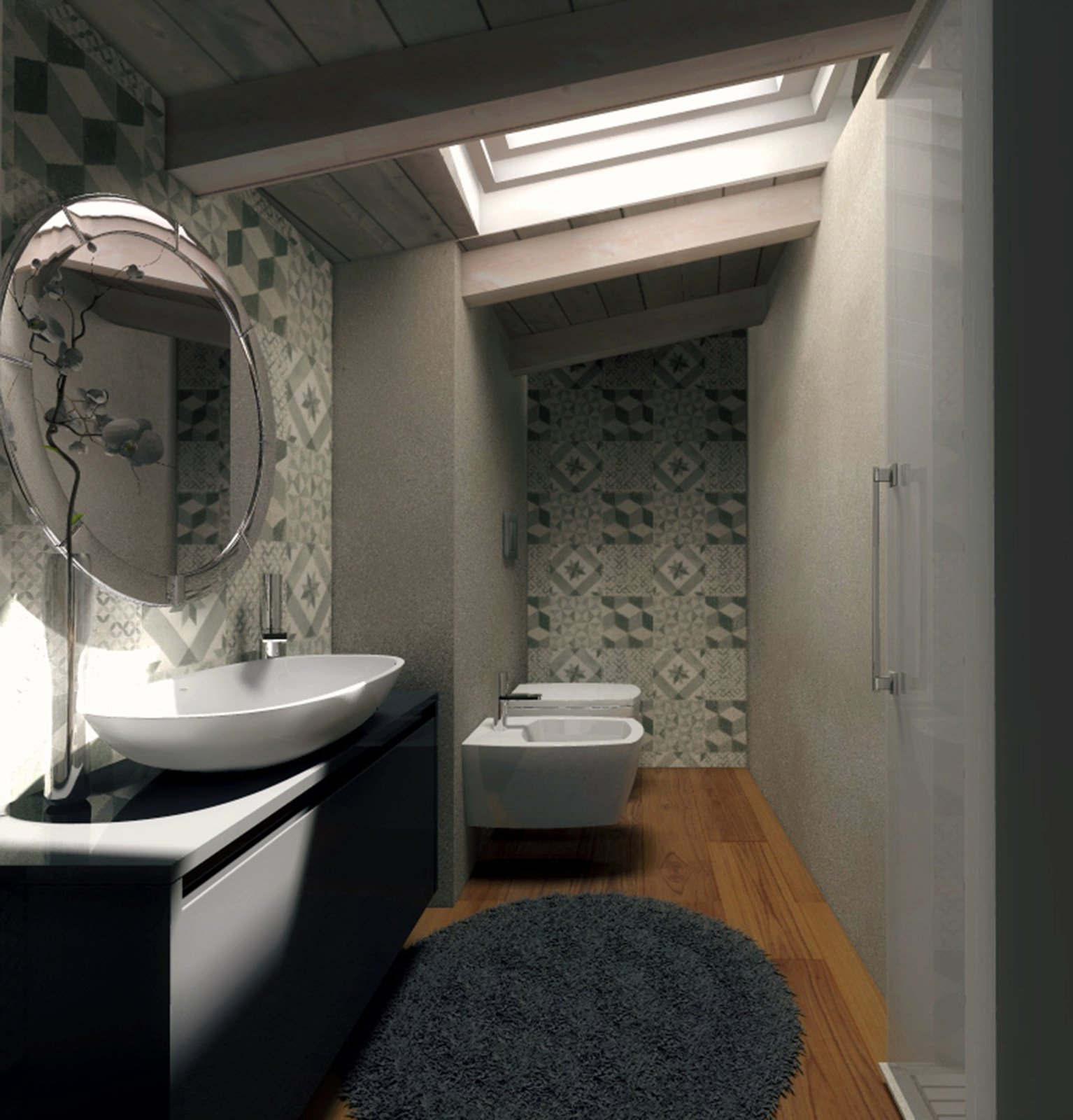Mansarda una casa sottotetto luminosa e contemporanea - Bagno in mansarda non abitabile ...