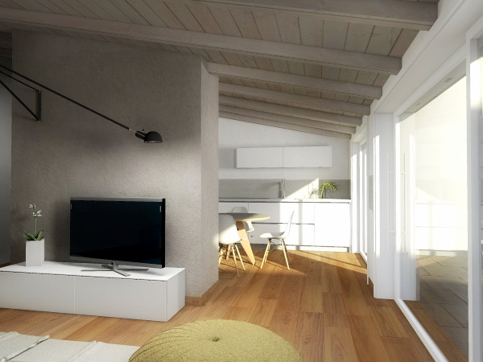 Mansarda una casa sottotetto luminosa e contemporanea for Arredamento per sottotetto