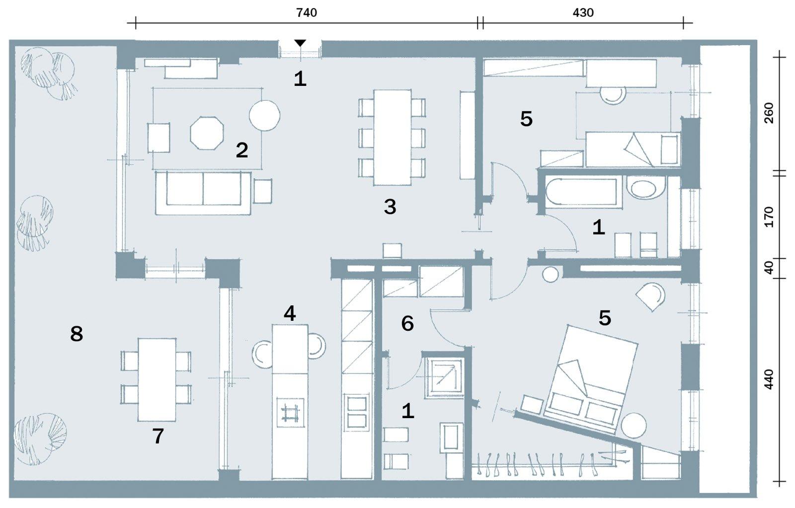 Planimetria Casa Con Misure open space contemporaneo: una casa di 100 mq che sembra più