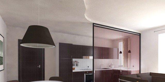 Soggiorno e cucina openspace progetto in pianta e in 3d - Open space soggiorno cucina progetti ...