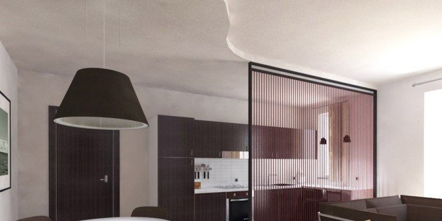 Soggiorno e cucina openspace progetto in pianta e in 3d for Progetto soggiorno
