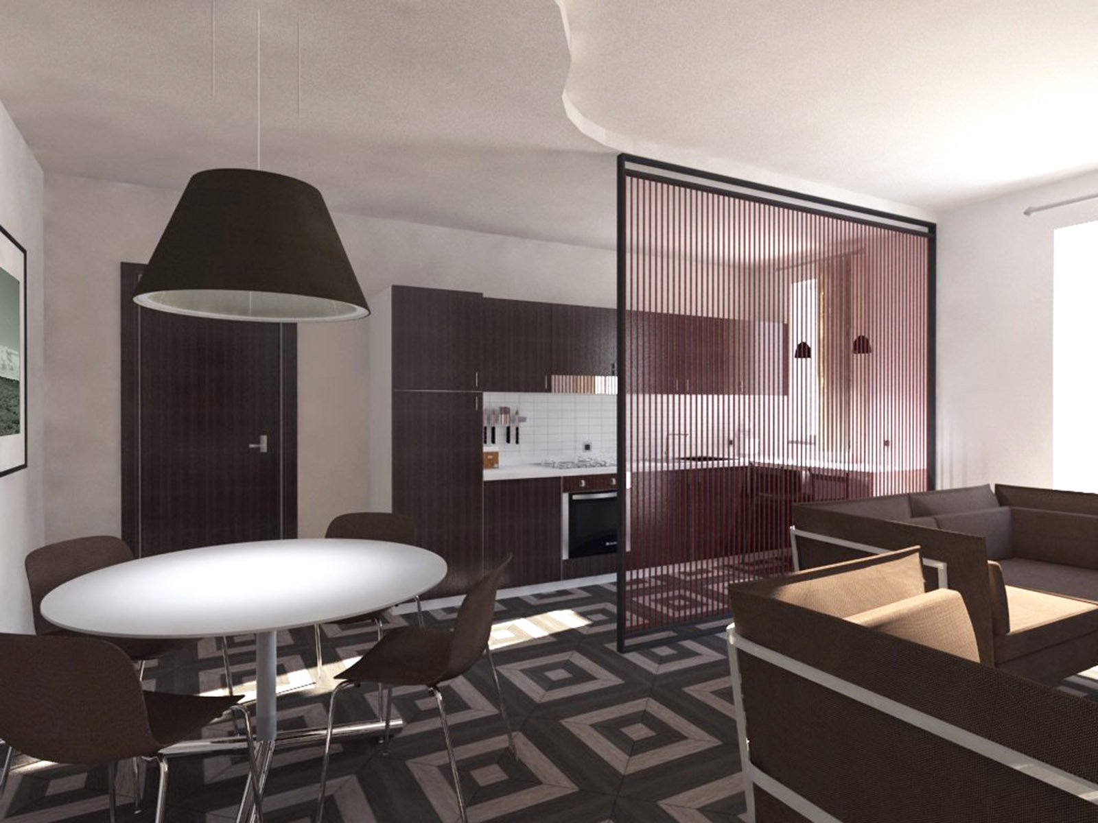 Soggiorno e cucina openspace progetto in pianta e in 3d for Cucina open space con pilastri