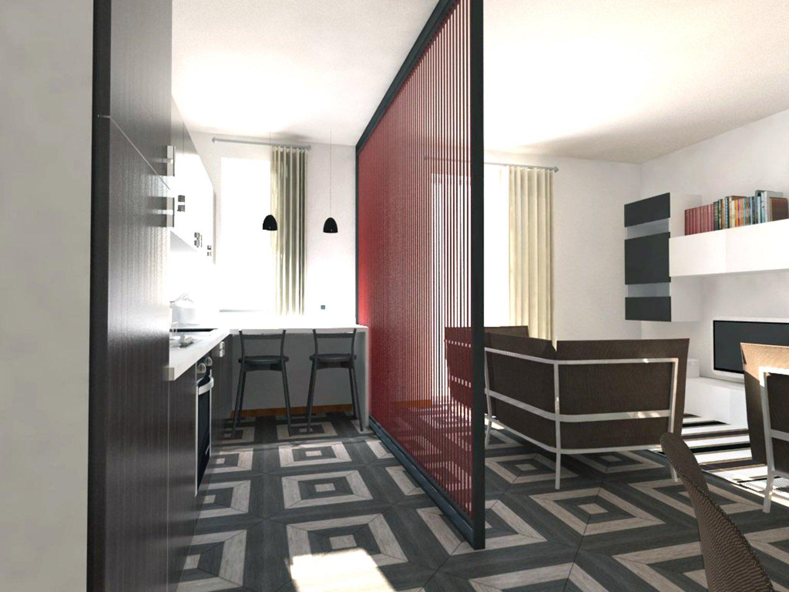 Soggiorno e cucina openspace progetto in pianta e in 3d for Foto di cucina e soggiorno a pianta aperta