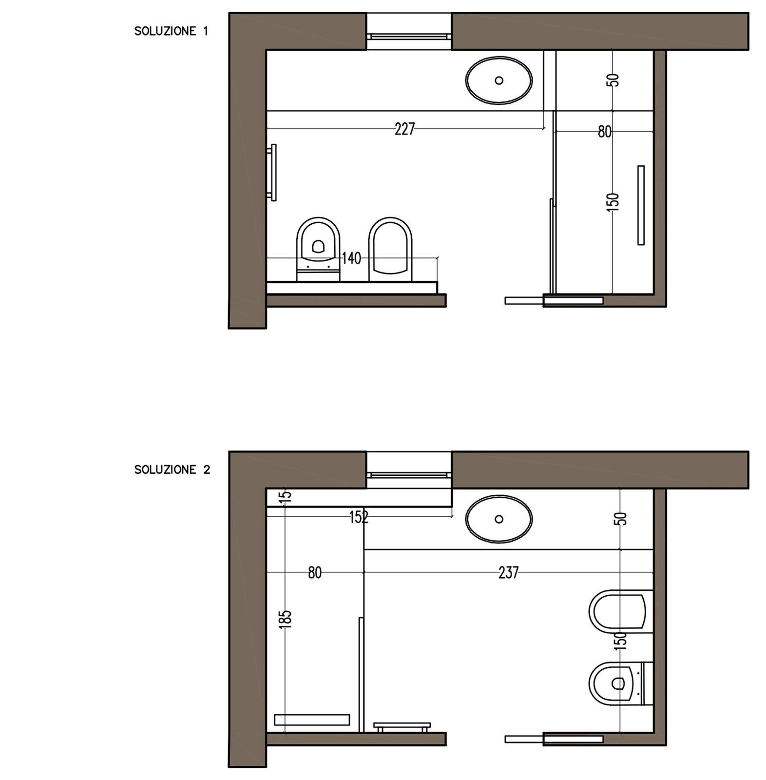Bagno quale la distribuzione migliore per sanitari e doccia cose di casa - Progetto bagno 2x2 ...