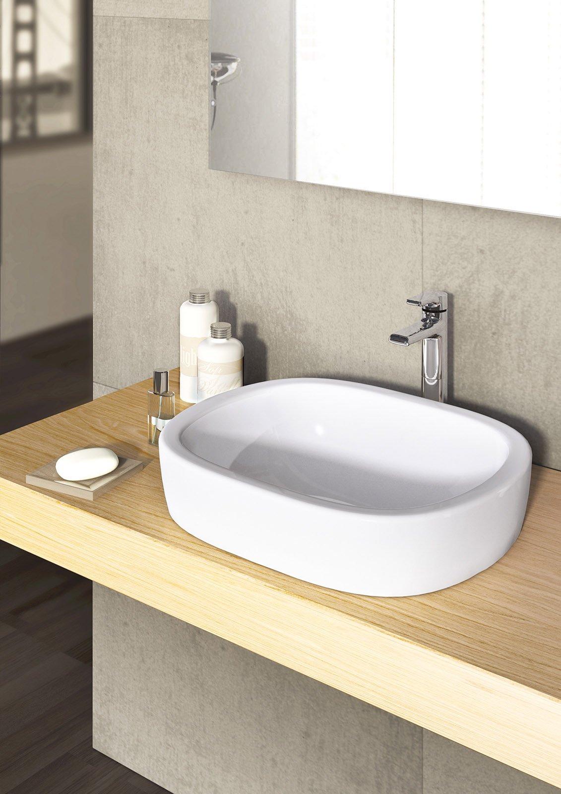È Di Forma Ovale Il Lavabo Da Incasso Soprapiano Active Di Ideal Standard.  In Ceramica Sanitaria Bianca, Non Ha Troppopieno. Misura L 50 X P 40 Cm.