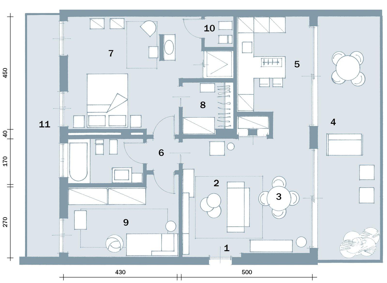In meno di 100 mq una casa moderna con geometrie a 3 for Planimetrie della casa senza garage
